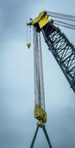 Wire rope in multi-part reeving with high capacity crane block